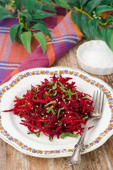 Salad Of Fresh Beets And Carrots With Parsley Royalty Free Stock Image