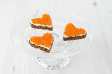 Free Three Sandwich With Red Caviar In The Form Of A Heart On Glass S Royalty Free Stock Image - 28252956