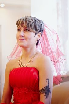 Portrait Of The Beautiful Bride In A Red Dress Stock Photos