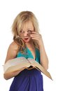 Free Young Woman With Glasses And Book Prepare For The Session. Isolated On White Royalty Free Stock Photo - 28263335
