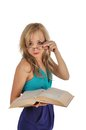 Free Young Woman With Glasses And Book Prepare For The Session. Isolated On White Royalty Free Stock Photo - 28263345