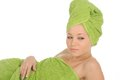 Free Spa Girl. Beautiful Young Woman After Bath With Green Towel. Isolated On White Royalty Free Stock Photo - 28264685