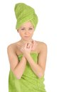 Free Spa Girl. Beautiful Young Woman After Bath With Green Towel. Isolated On White Royalty Free Stock Image - 28264706