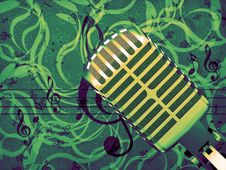 Free Microphone Floral Background Royalty Free Stock Photo - 28260435