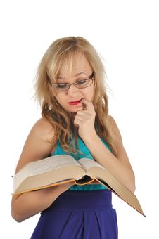 Free Young Woman With Glasses And Book Prepare For The Session. Isolated On White Stock Photo - 28263280