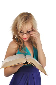 Free Young Woman With Glasses And Book Prepare For The Session. Isolated On White Royalty Free Stock Photo - 28263285