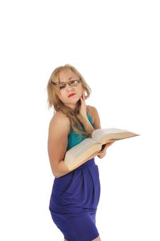Young Woman With Glasses And Book Prepare For The Session. Isolated On White Royalty Free Stock Images