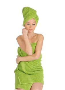 Free Spa Girl. Beautiful Young Woman After Bath With Green Towel. Isolated On White Stock Photo - 28264710