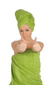 Free Spa Girl. Beautiful Young Woman After Bath With Green Towel. Isolated On White Stock Photo - 28264720