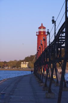 Free Lighthouse At Grand Haven, Michigan Stock Images - 28269514