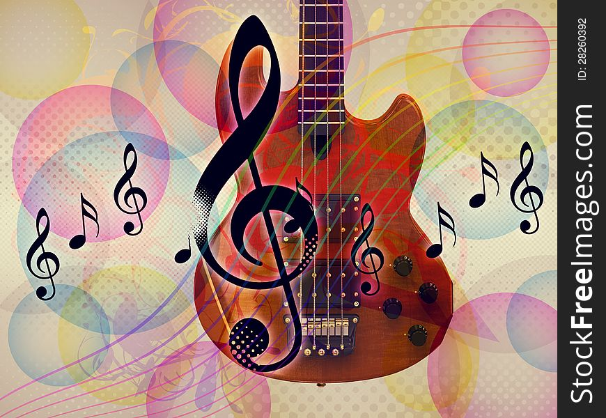 Funky Music Background With Guitar - Free Stock Images ...
