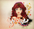 Free Red Haired Girl With Floral Royalty Free Stock Image - 28276736