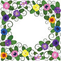 Free Pansies Frame With Swirls Royalty Free Stock Photography - 28279677