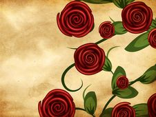 Free Roses On Grunge Paper Royalty Free Stock Image - 28276746