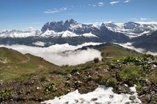 Morning Fog In The Swiss Alps Stock Photography