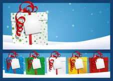 Free Winter Background - Gift With Label Royalty Free Stock Photos - 28278058