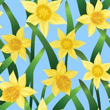 Free Seamless Background With Daffodils Stock Image - 28279651