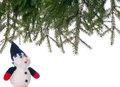 Free Snowman And Spruce Branches. Royalty Free Stock Photography - 28282347