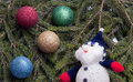 Free Colorful Balls And Snowman Lying On Spruce Branches. Stock Photos - 28282433