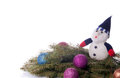 Free Colorful Balls And Snowman Lying On Spruce Branches. Royalty Free Stock Image - 28282446