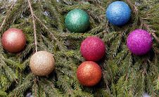 Free Colored Balls Are On The Fir Trees. Stock Image - 28282231