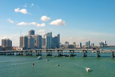 Free Scenic View On Miami Port And Bridge Stock Images - 28282804