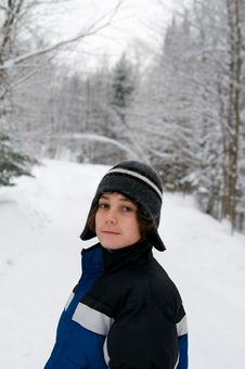 Free Teen Outdoors In Winter Stock Photography - 28284452