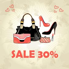 Different Bags And Shoes Royalty Free Stock Images