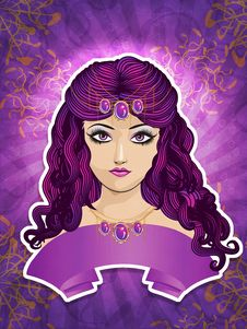 Free Girl With Purple Ribbon Royalty Free Stock Images - 28290279
