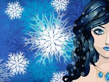 Free Winter Girl With Snowflakes Royalty Free Stock Images - 28290319