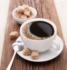 Free Cup Of Coffee With Brown Sugar. Stock Image - 28292871