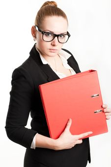 Free Business Woman With Folders On  Light Background Stock Photos - 28295153