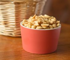 Salted Nuts In Red Bowl Stock Image