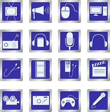 Free Media Icons On Square Buttons Royalty Free Stock Photos - 28297418