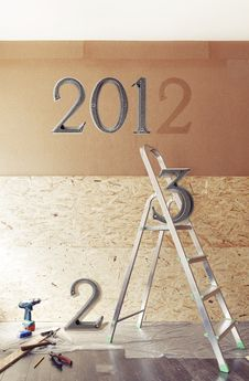 Free The New Year Is Coming Concept - Numbers 2013 Instead Of 2012 Royalty Free Stock Photography - 28297457