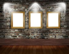 Three Frames On Brick Wall Stock Photo