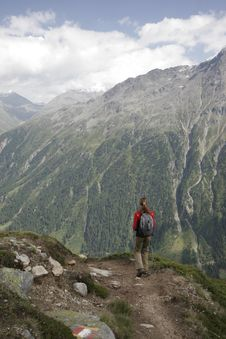 Free Woman Hiking In Mountains Royalty Free Stock Photos - 2831598
