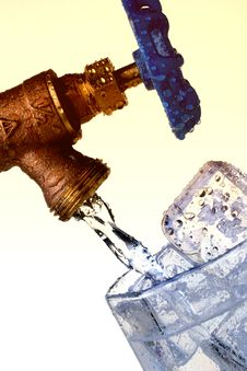 Ice Water With Cubes Royalty Free Stock Image