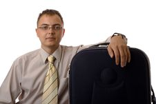 Free Businessman With Suitcase Royalty Free Stock Photos - 2835578