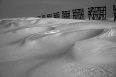 Snow Desert And Fence Royalty Free Stock Image
