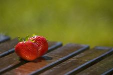 Pair Of Strawberries In The Rain Royalty Free Stock Photos