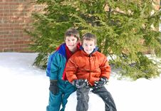 Free Boys Playing In The Snow Stock Image - 2839101