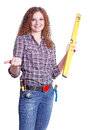 Free Portrait Of Curly Girl The Builder Stock Photography - 28303912