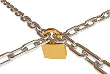 Free Crossed Chains With Lock Royalty Free Stock Photo - 28300325