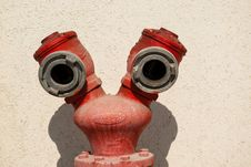 Free Red Fire Hydrant By A Wall Royalty Free Stock Photography - 28302857