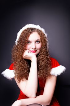 Pretty Curly Girl In Santa Stock Photos