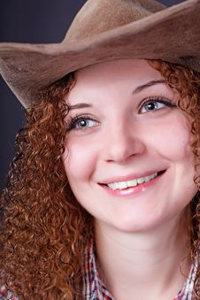 Free Portrait Girl Cowboy Royalty Free Stock Photography - 28303877