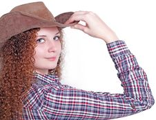 Free Curly Girl In A Cowboy Hat Royalty Free Stock Image - 28303906
