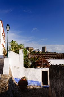 Old Beautiful Houses In Medieval City Of Obidos, Portugal Stock Image