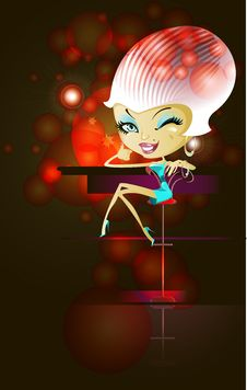 Glamor Girl  At The Bar Royalty Free Stock Image